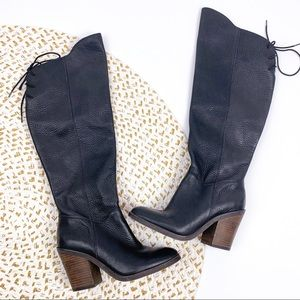 Lucky Brand Pembe Black Leather Knee High Boots